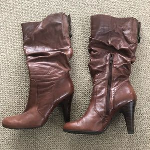 Slouchy leather high heel boots in Cognac - sz 8.5